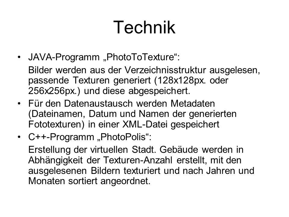 """Technik JAVA-Programm """"PhotoToTexture : Bilder werden aus der Verzeichnisstruktur ausgelesen, passende Texturen generiert (128x128px."""
