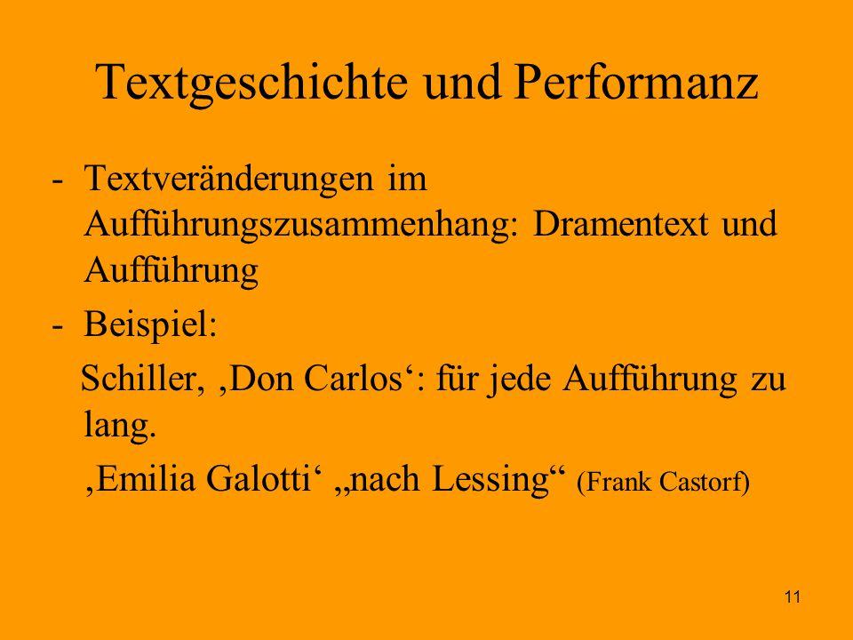11 Textgeschichte und Performanz -Textveränderungen im Aufführungszusammenhang: Dramentext und Aufführung -Beispiel: Schiller, 'Don Carlos': für jede