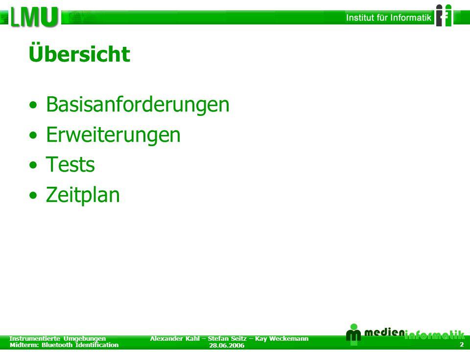 Instrumentierte Umgebungen Midterm: Bluetooth Identification 28.06.2006 Alexander Kahl – Stefan Seitz – Kay Weckemann 2 Übersicht Basisanforderungen Erweiterungen Tests Zeitplan