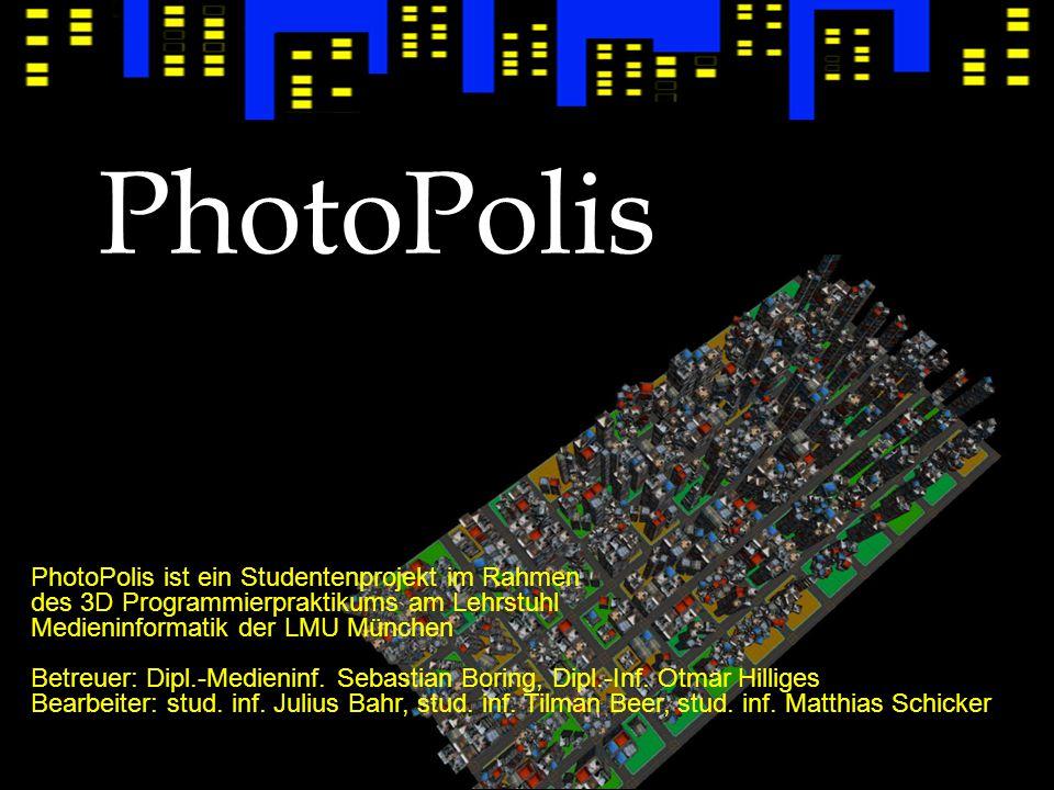 Idee Visualisierung einer Foto-Datenbank in einer virtuellen 3D-Umgebung Gebäude werden mit Fotos texturiert und nach Jahr und Monat sortiert in einer Stadt angeordnet Navigation erfolgt auf Straßen über die typische Ego-Shooter-Steuerung mit Maus und Tastatur.