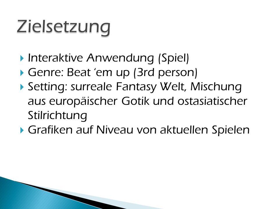  Interaktive Anwendung (Spiel)  Genre: Beat 'em up (3rd person)  Setting: surreale Fantasy Welt, Mischung aus europäischer Gotik und ostasiatischer Stilrichtung  Grafiken auf Niveau von aktuellen Spielen