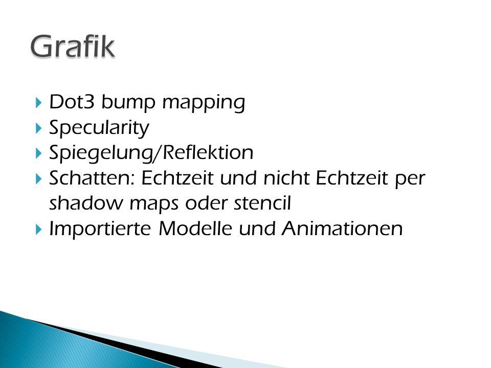  Dot3 bump mapping  Specularity  Spiegelung/Reflektion  Schatten: Echtzeit und nicht Echtzeit per shadow maps oder stencil  Importierte Modelle u