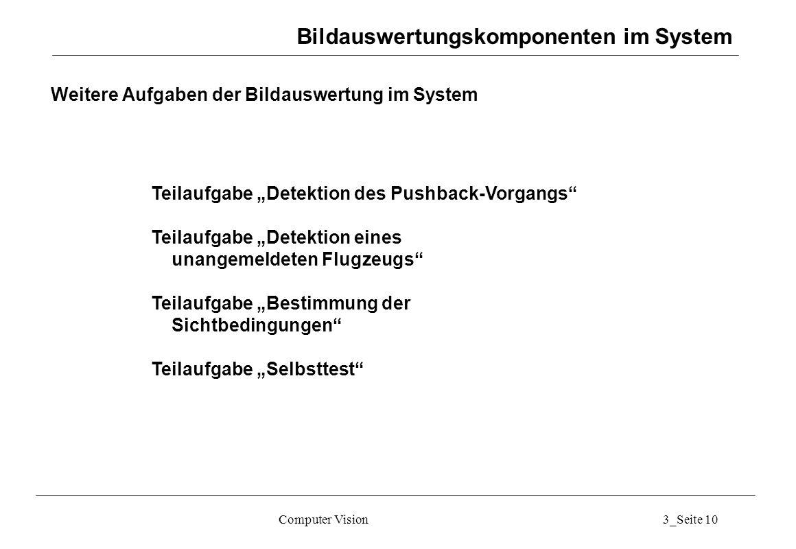 """Computer Vision3_Seite 10 Weitere Aufgaben der Bildauswertung im System Teilaufgabe """"Detektion des Pushback-Vorgangs"""" Teilaufgabe """"Detektion eines una"""