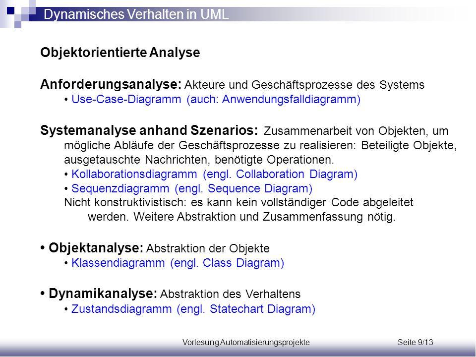 Vorlesung Automatisierungsprojekte Seite 9/13 Objektorientierte Analyse Anforderungsanalyse: Akteure und Geschäftsprozesse des Systems Use-Case-Diagra