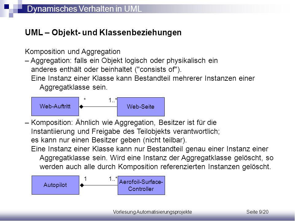 Vorlesung Automatisierungsprojekte Seite 9/20 UML – Objekt- und Klassenbeziehungen Komposition und Aggregation – Aggregation: falls ein Objekt logisch