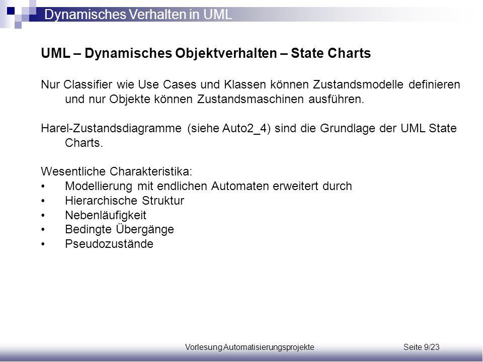 Vorlesung Automatisierungsprojekte Seite 9/23 UML – Dynamisches Objektverhalten – State Charts Nur Classifier wie Use Cases und Klassen können Zustand