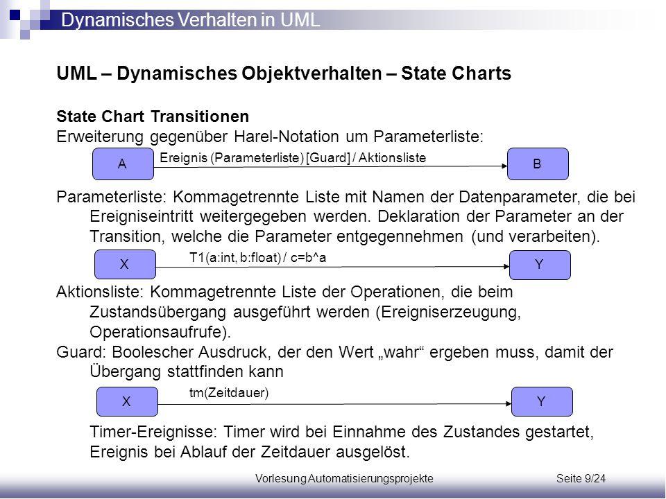 Vorlesung Automatisierungsprojekte Seite 9/24 UML – Dynamisches Objektverhalten – State Charts State Chart Transitionen Erweiterung gegenüber Harel-No