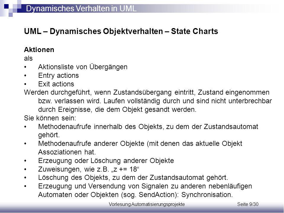 Vorlesung Automatisierungsprojekte Seite 9/30 UML – Dynamisches Objektverhalten – State Charts Aktionen als Aktionsliste von Übergängen Entry actions