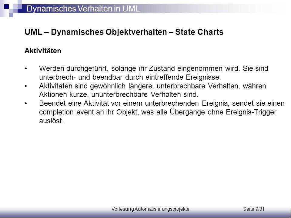 Vorlesung Automatisierungsprojekte Seite 9/31 UML – Dynamisches Objektverhalten – State Charts Aktivitäten Werden durchgeführt, solange ihr Zustand ei