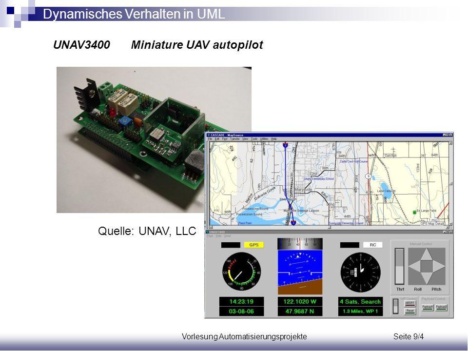 Vorlesung Automatisierungsprojekte Seite 9/4 Dynamisches Verhalten in UML UNAV3400 Miniature UAV autopilot Quelle: UNAV, LLC
