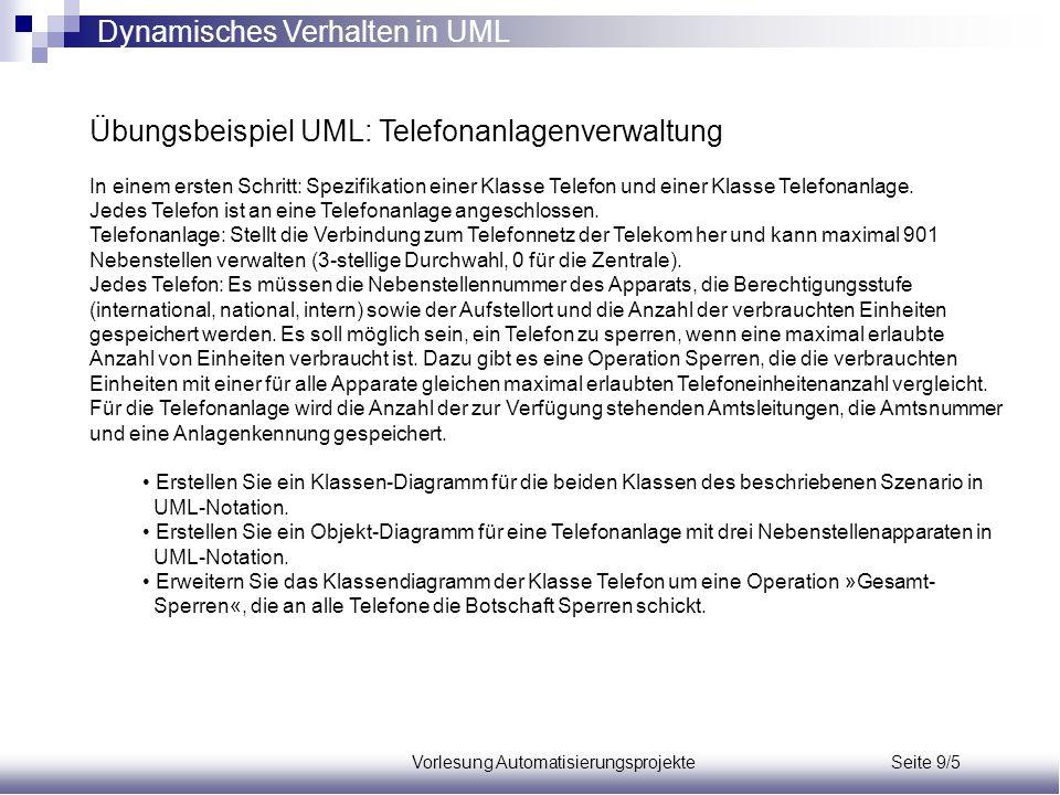 Vorlesung Automatisierungsprojekte Seite 9/5 Übungsbeispiel UML: Telefonanlagenverwaltung In einem ersten Schritt: Spezifikation einer Klasse Telefon