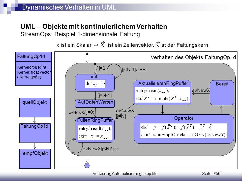 Vorlesung Automatisierungsprojekte Seite 9/56 UML – Objekte mit kontinuierlichem Verhalten StreamOps: Beispiel 1-dimensionale Faltung FaltungOp1d quel
