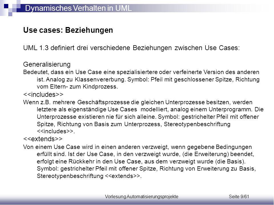 Vorlesung Automatisierungsprojekte Seite 9/61 Use cases: Beziehungen UML 1.3 definiert drei verschiedene Beziehungen zwischen Use Cases: Generalisieru