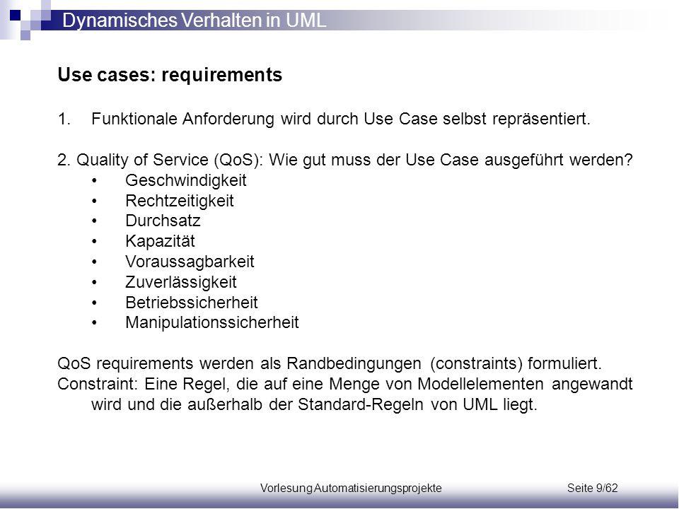 Vorlesung Automatisierungsprojekte Seite 9/62 Use cases: requirements 1.Funktionale Anforderung wird durch Use Case selbst repräsentiert. 2. Quality o