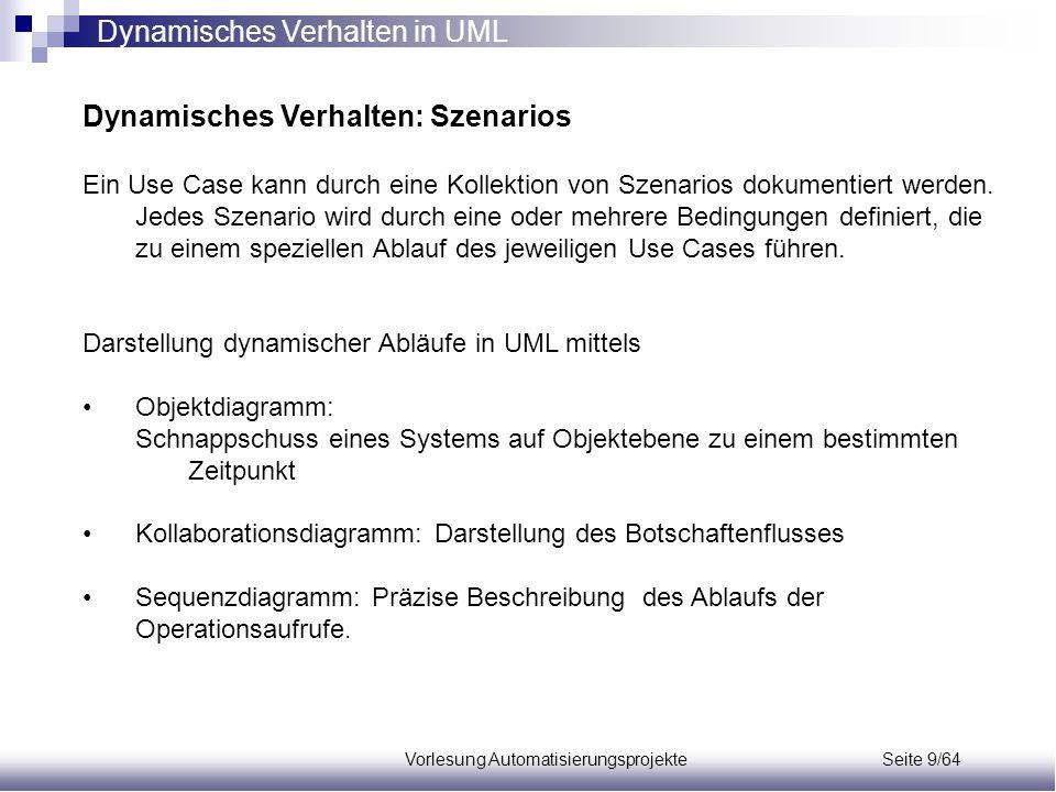 Vorlesung Automatisierungsprojekte Seite 9/64 Dynamisches Verhalten: Szenarios Ein Use Case kann durch eine Kollektion von Szenarios dokumentiert werd