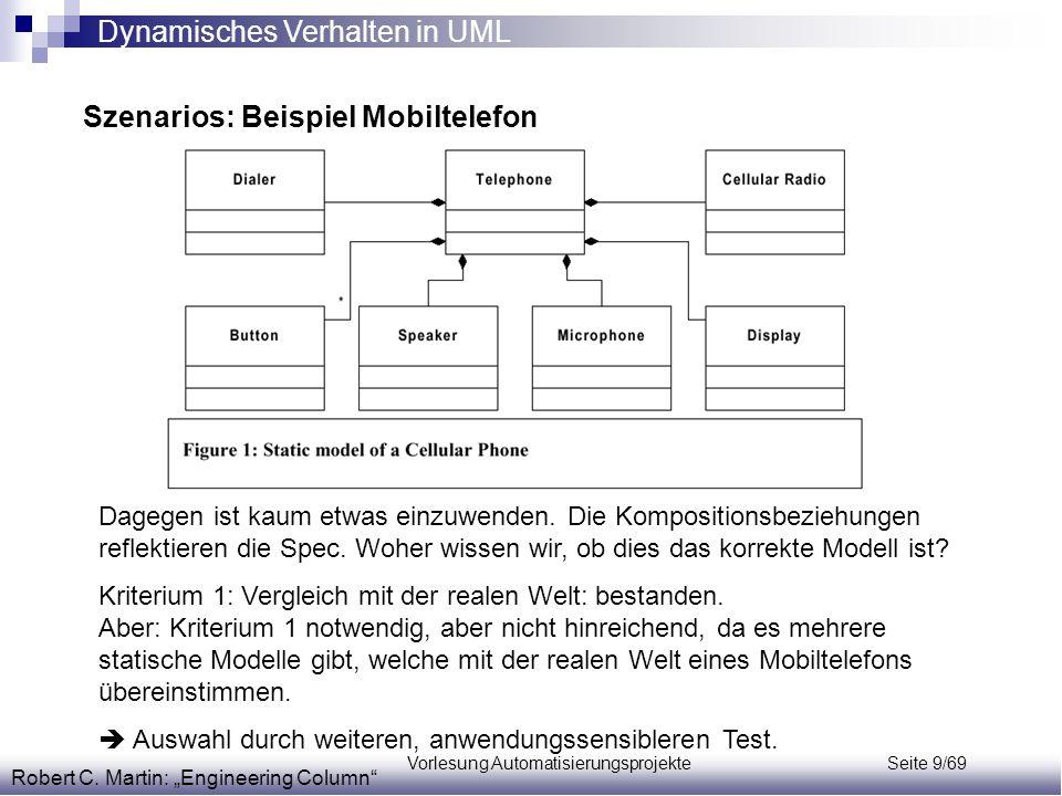 """Vorlesung Automatisierungsprojekte Seite 9/69 Szenarios: Beispiel Mobiltelefon Robert C. Martin: """"Engineering Column"""" Dagegen ist kaum etwas einzuwend"""