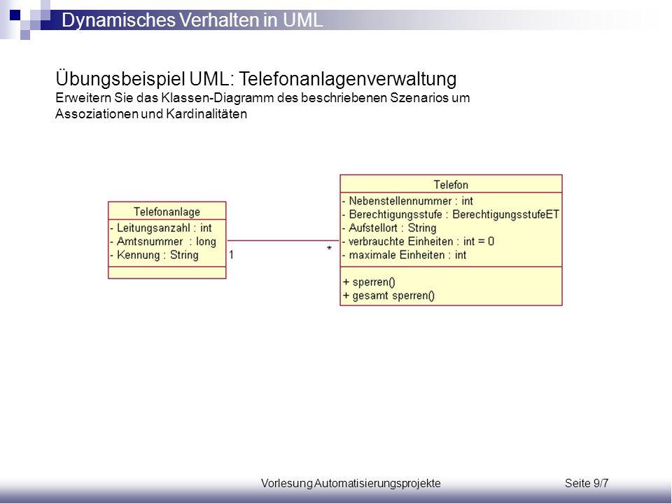 Vorlesung Automatisierungsprojekte Seite 9/7 Übungsbeispiel UML: Telefonanlagenverwaltung Erweitern Sie das Klassen-Diagramm des beschriebenen Szenari