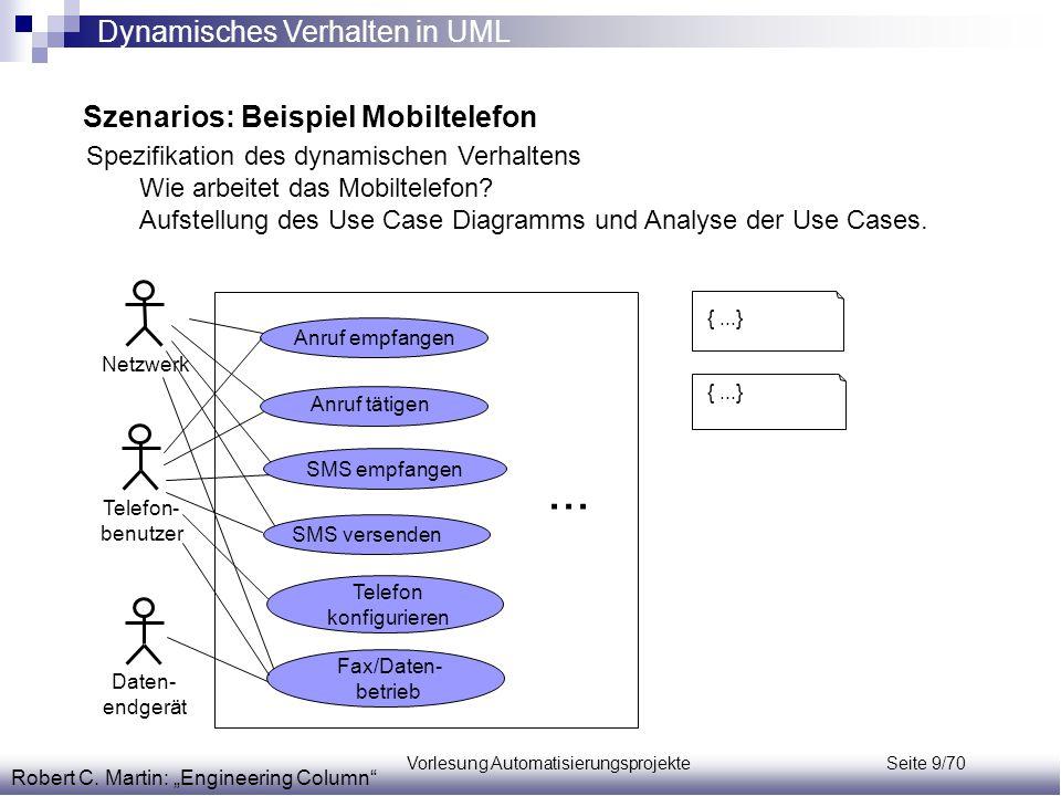 """Vorlesung Automatisierungsprojekte Seite 9/70 Szenarios: Beispiel Mobiltelefon Robert C. Martin: """"Engineering Column"""" Spezifikation des dynamischen Ve"""