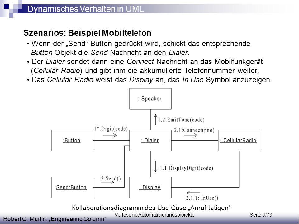 """Vorlesung Automatisierungsprojekte Seite 9/73 Szenarios: Beispiel Mobiltelefon Robert C. Martin: """"Engineering Column"""" Wenn der """"Send""""-Button gedrückt"""