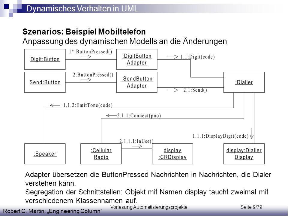 """Vorlesung Automatisierungsprojekte Seite 9/79 Szenarios: Beispiel Mobiltelefon Anpassung des dynamischen Modells an die Änderungen Robert C. Martin: """""""
