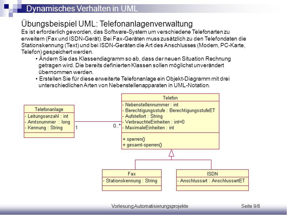 Vorlesung Automatisierungsprojekte Seite 9/8 Übungsbeispiel UML: Telefonanlagenverwaltung Es ist erforderlich geworden, das Software-System um verschi
