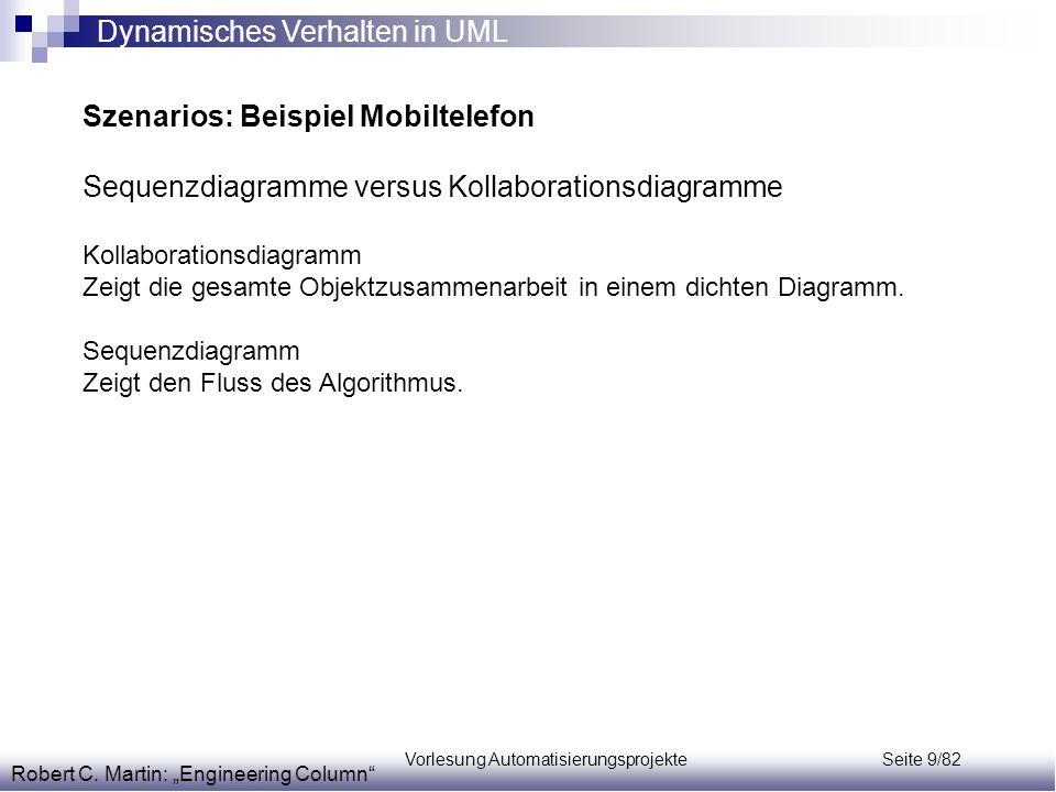 Vorlesung Automatisierungsprojekte Seite 9/82 Szenarios: Beispiel Mobiltelefon Sequenzdiagramme versus Kollaborationsdiagramme Kollaborationsdiagramm