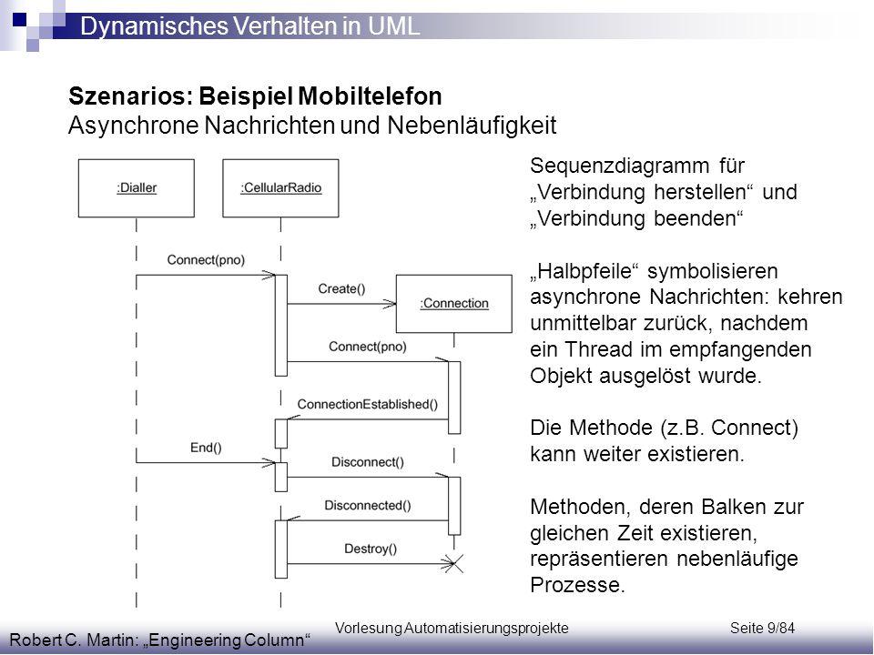 """Vorlesung Automatisierungsprojekte Seite 9/84 Szenarios: Beispiel Mobiltelefon Asynchrone Nachrichten und Nebenläufigkeit Robert C. Martin: """"Engineeri"""