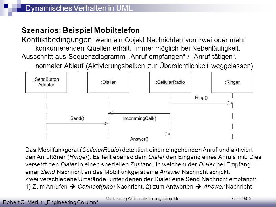 Vorlesung Automatisierungsprojekte Seite 9/85 Szenarios: Beispiel Mobiltelefon Konfliktbedingungen: wenn ein Objekt Nachrichten von zwei oder mehr kon