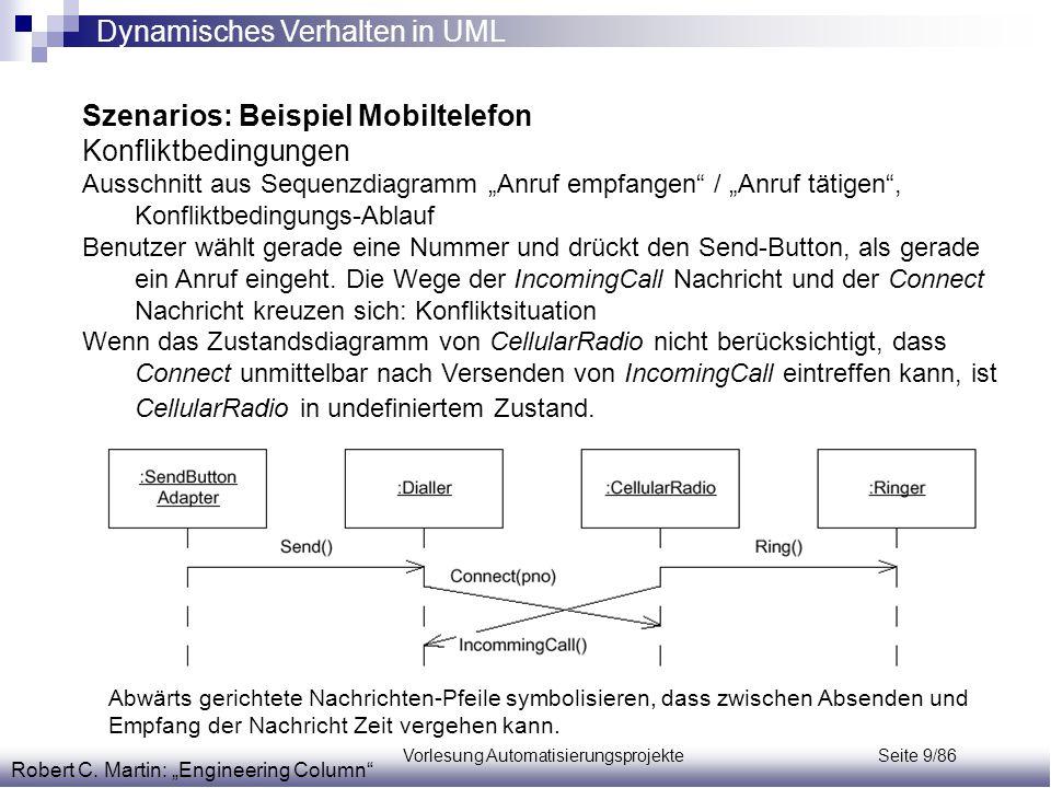 """Vorlesung Automatisierungsprojekte Seite 9/86 Robert C. Martin: """"Engineering Column"""" Szenarios: Beispiel Mobiltelefon Konfliktbedingungen Ausschnitt a"""