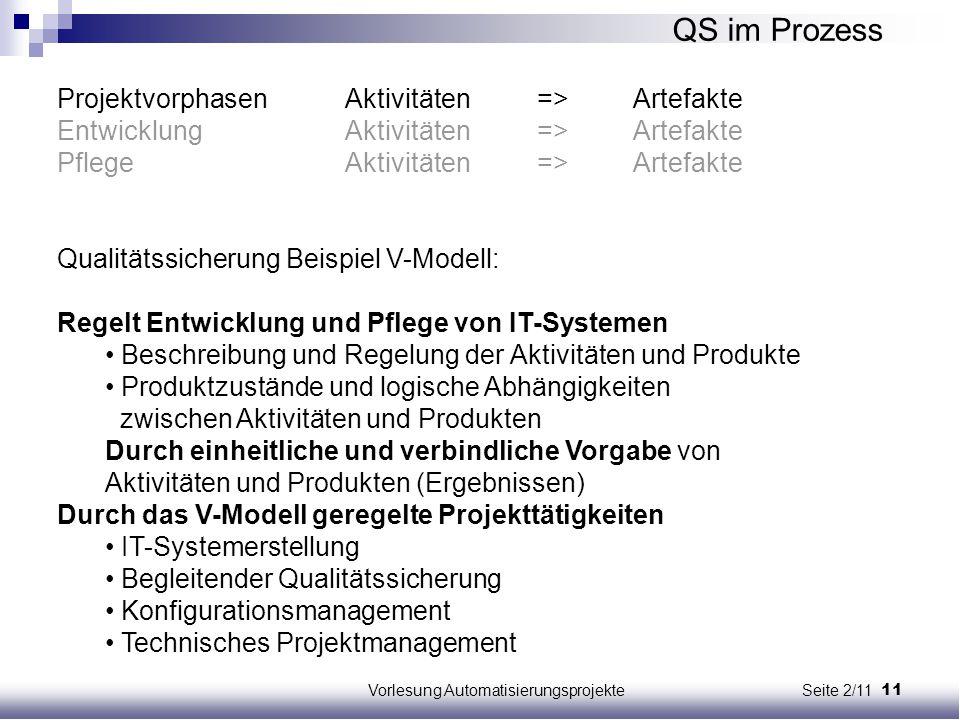 11Vorlesung Automatisierungsprojekte Seite 2/11 ProjektvorphasenAktivitäten=>Artefakte EntwicklungAktivitäten=>Artefakte PflegeAktivitäten=>Artefakte