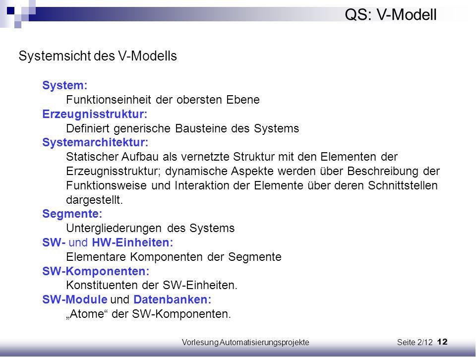 12Vorlesung Automatisierungsprojekte Seite 2/12 QS: V-Modell Systemsicht des V-Modells System: Funktionseinheit der obersten Ebene Erzeugnisstruktur: