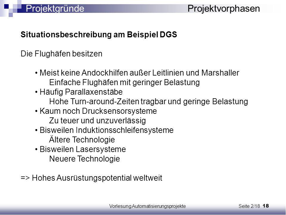 18Vorlesung Automatisierungsprojekte Seite 2/18 Situationsbeschreibung am Beispiel DGS Die Flughäfen besitzen Meist keine Andockhilfen außer Leitlinie