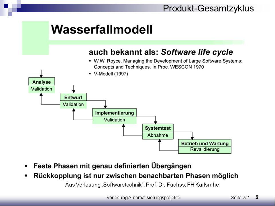 """2Vorlesung Automatisierungsprojekte Seite 2/2 Aus Vorlesung """"Softwaretechnik"""", Prof. Dr. Fuchss, FH Karlsruhe Produkt-Gesamtzyklus"""
