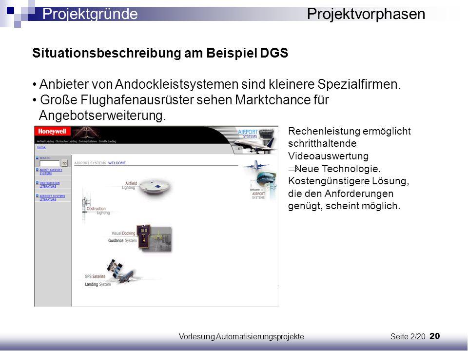 20Vorlesung Automatisierungsprojekte Seite 2/20 Situationsbeschreibung am Beispiel DGS Anbieter von Andockleistsystemen sind kleinere Spezialfirmen. G