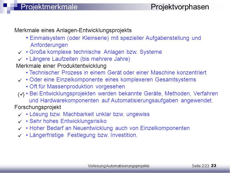 23Vorlesung Automatisierungsprojekte Seite 2/23 Merkmale eines Anlagen-Entwicklungsprojekts Einmalsystem (oder Kleinserie) mit spezieller Aufgabenstel