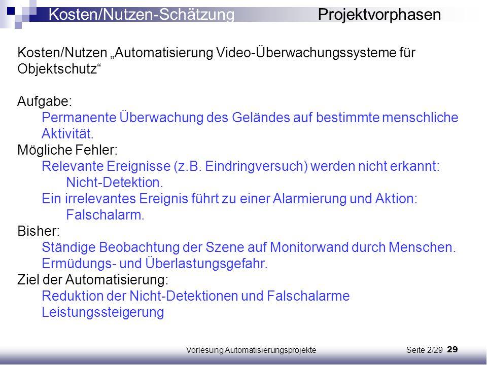 """29Vorlesung Automatisierungsprojekte Seite 2/29 Kosten/Nutzen """"Automatisierung Video-Überwachungssysteme für Objektschutz"""" Aufgabe: Permanente Überwac"""