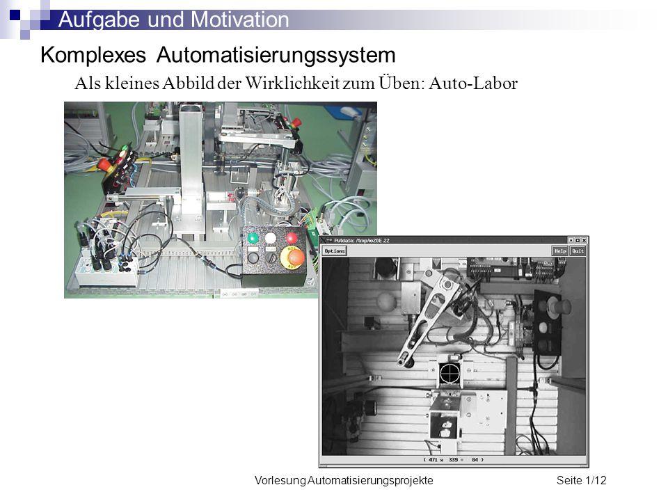 Vorlesung Automatisierungsprojekte Seite 1/12 Komplexes Automatisierungssystem Als kleines Abbild der Wirklichkeit zum Üben: Auto-Labor Aufgabe und Mo