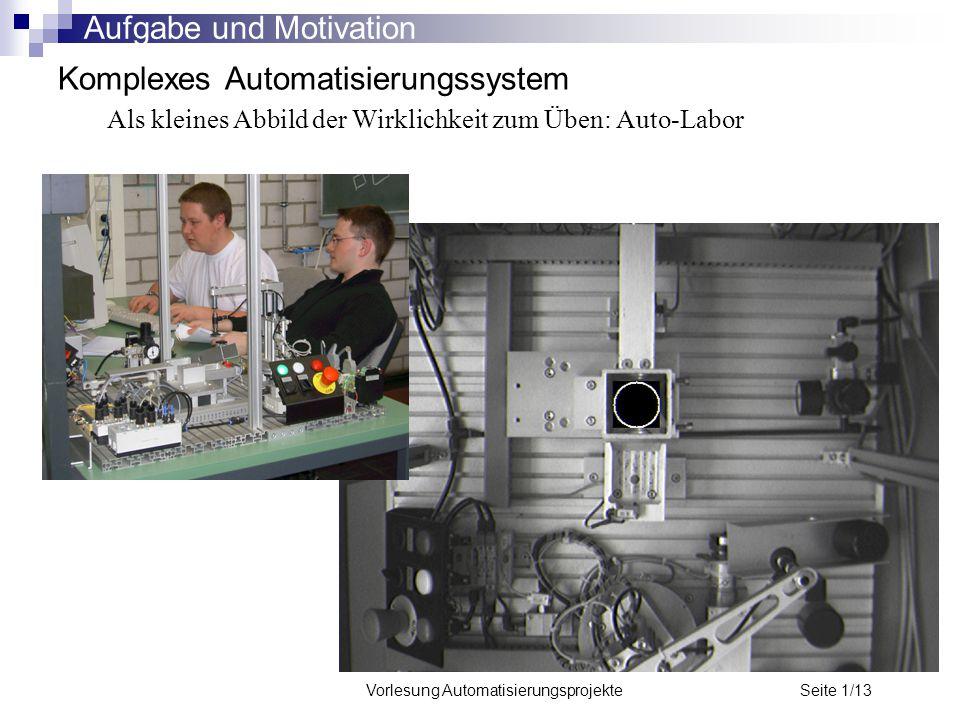 Vorlesung Automatisierungsprojekte Seite 1/13 Komplexes Automatisierungssystem Als kleines Abbild der Wirklichkeit zum Üben: Auto-Labor Aufgabe und Mo