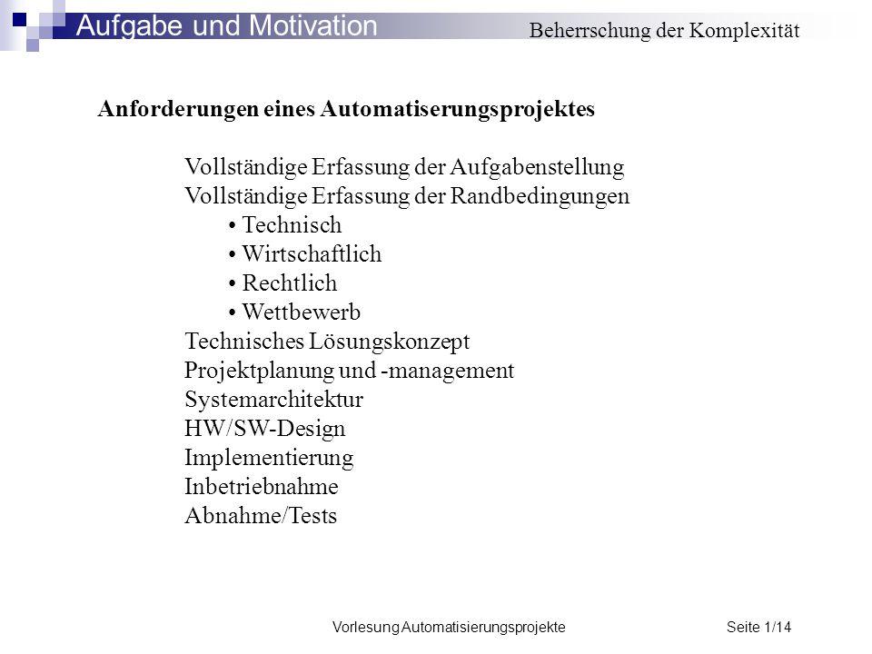 Vorlesung Automatisierungsprojekte Seite 1/14 Beherrschung der Komplexität Anforderungen eines Automatiserungsprojektes Vollständige Erfassung der Auf