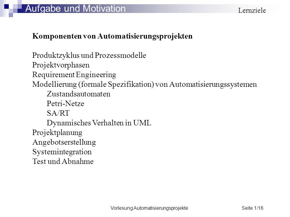 Vorlesung Automatisierungsprojekte Seite 1/16 Komponenten von Automatisierungsprojekten Produktzyklus und Prozessmodelle Projektvorphasen Requirement