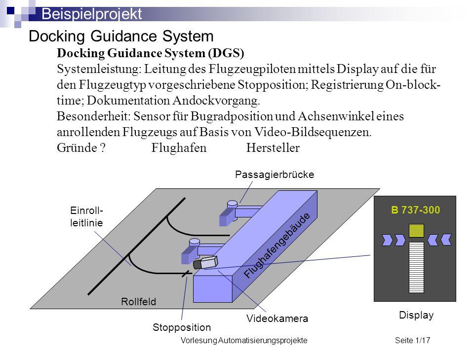 Vorlesung Automatisierungsprojekte Seite 1/17 Docking Guidance System Docking Guidance System (DGS) Systemleistung: Leitung des Flugzeugpiloten mittel