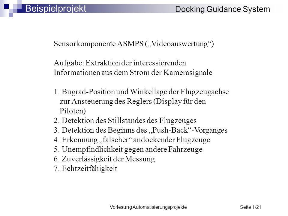 """Vorlesung Automatisierungsprojekte Seite 1/21 Sensorkomponente ASMPS (""""Videoauswertung"""") Aufgabe: Extraktion der interessierenden Informationen aus de"""