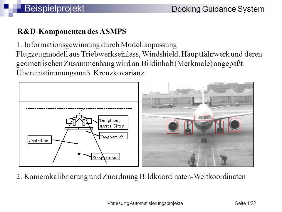 Vorlesung Automatisierungsprojekte Seite 1/22 R&D-Komponenten des ASMPS 1. Informationsgewinnung durch Modellanpassung Flugzeugmodell aus Triebwerksei