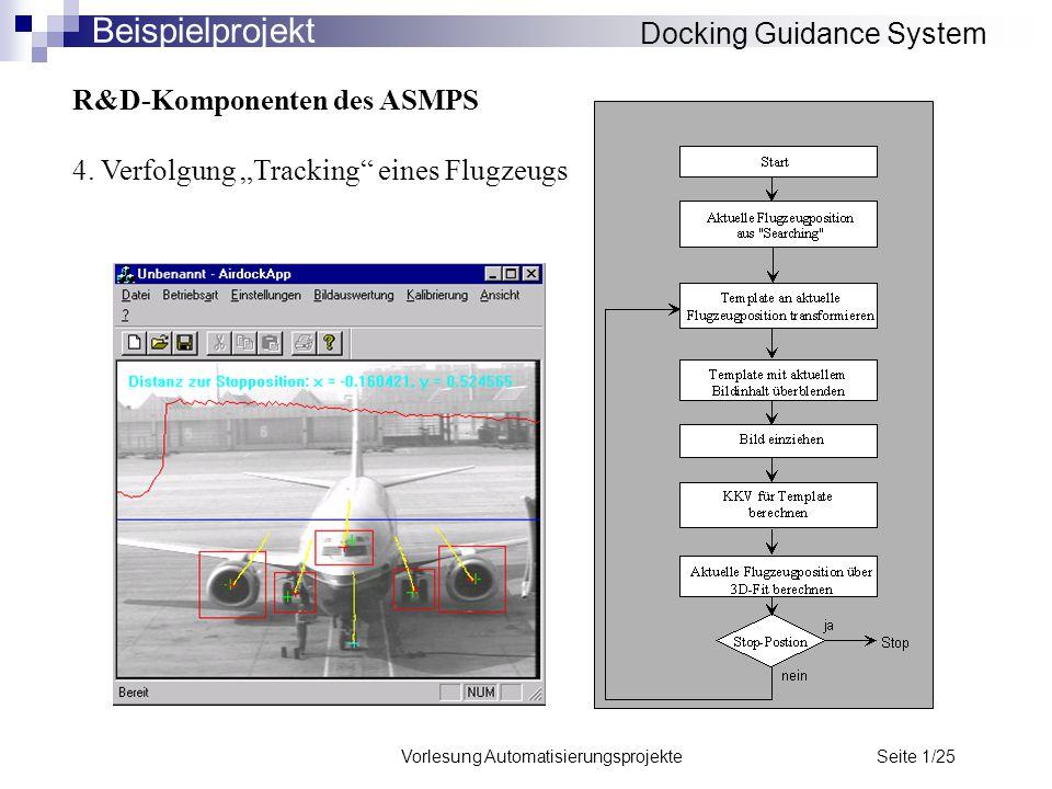 """Vorlesung Automatisierungsprojekte Seite 1/25 R&D-Komponenten des ASMPS 4. Verfolgung """"Tracking"""" eines Flugzeugs Docking Guidance System Beispielproje"""
