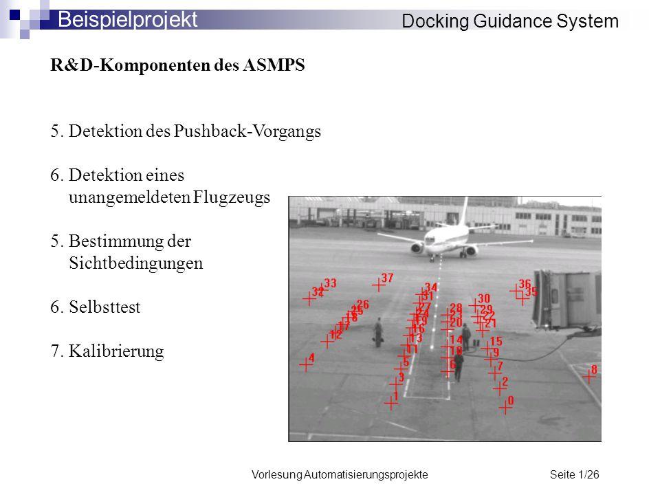 Vorlesung Automatisierungsprojekte Seite 1/26 R&D-Komponenten des ASMPS 5. Detektion des Pushback-Vorgangs 6. Detektion eines unangemeldeten Flugzeugs