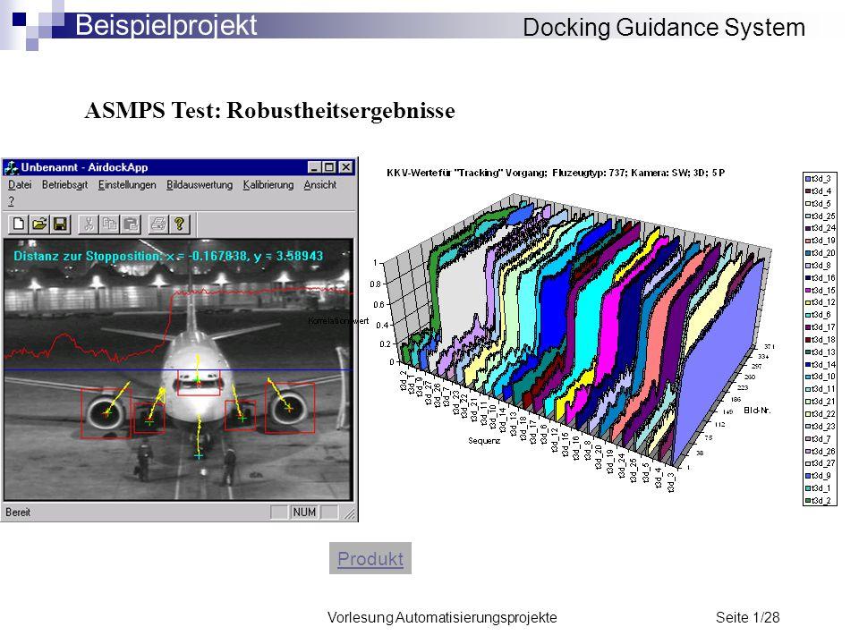 Vorlesung Automatisierungsprojekte Seite 1/28 ASMPS Test: Robustheitsergebnisse Produkt Docking Guidance System Beispielprojekt
