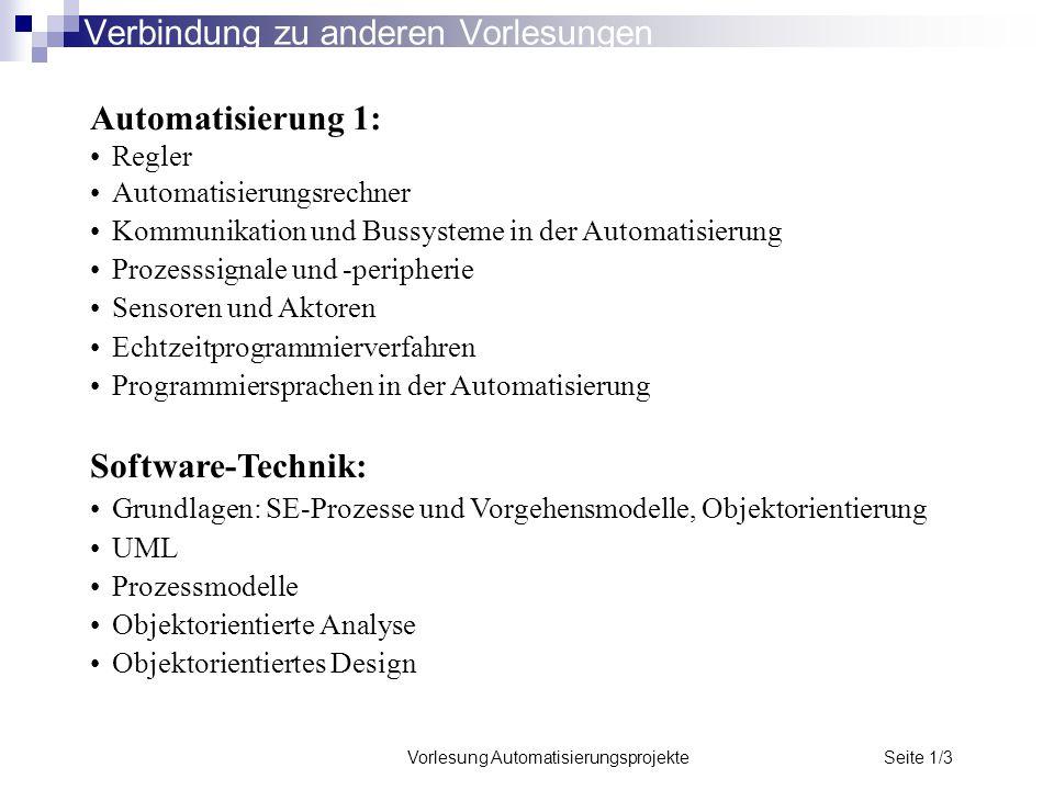 Vorlesung Automatisierungsprojekte Seite 1/3 Verbindung zu anderen Vorlesungen Automatisierung 1: Regler Automatisierungsrechner Kommunikation und Bus