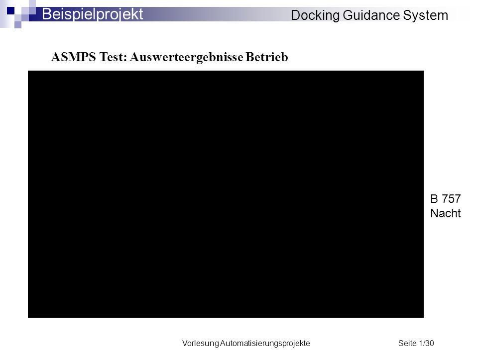Vorlesung Automatisierungsprojekte Seite 1/30 ASMPS Test: Auswerteergebnisse Betrieb Docking Guidance System Beispielprojekt B 757 Nacht