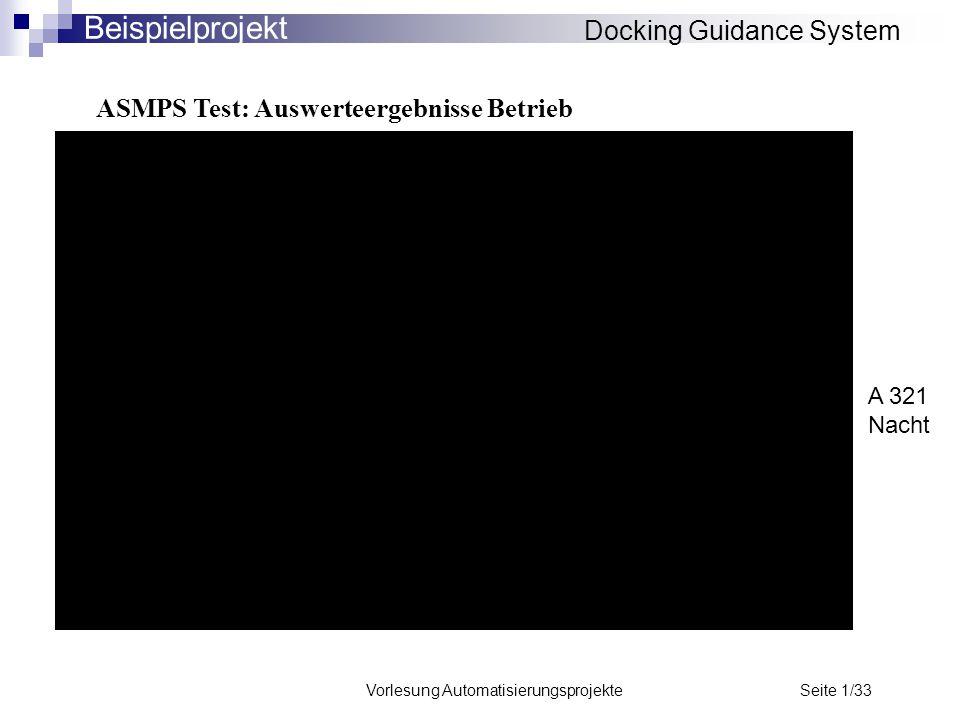 Vorlesung Automatisierungsprojekte Seite 1/33 ASMPS Test: Auswerteergebnisse Betrieb Docking Guidance System Beispielprojekt A 321 Nacht