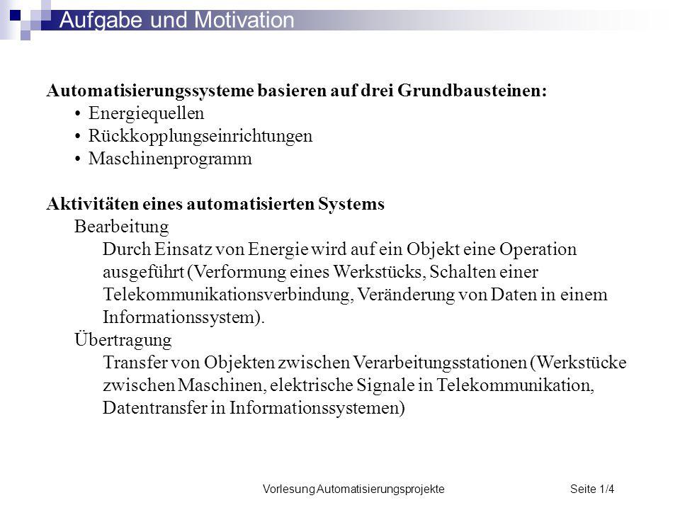 Vorlesung Automatisierungsprojekte Seite 1/4 Aufgabe und Motivation Automatisierungssysteme basieren auf drei Grundbausteinen: Energiequellen Rückkopp